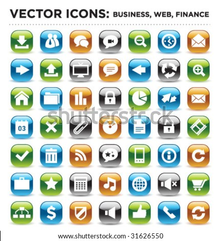 vector business web finance icons 03 - stock vector