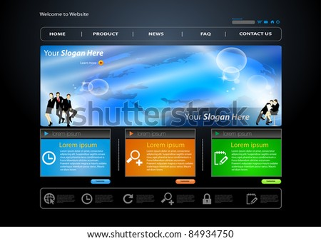 Vector business web site template with business human - stock vector