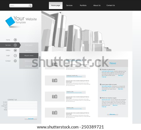 Vector Business Website Template, with corporate buildings illustration. Eps 10 - stock vector