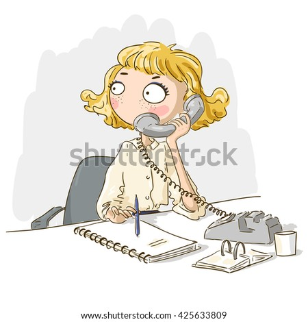 Vector business woman on table with phone. Young businesswoman woman talking phone at the office.Secretary illustration. Business woman with telephone. Girl sitting on table vector. Business person. - stock vector