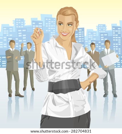 Vector business woman with silhouettes of business people, with transparency shadows and city - stock vector