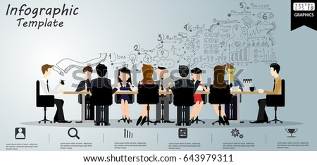 Vector  Businessman and Lady  Brainstorm Meeting  and  sit work on the table   - modern design Idea and Concept - illustration Business -  Infographic template.