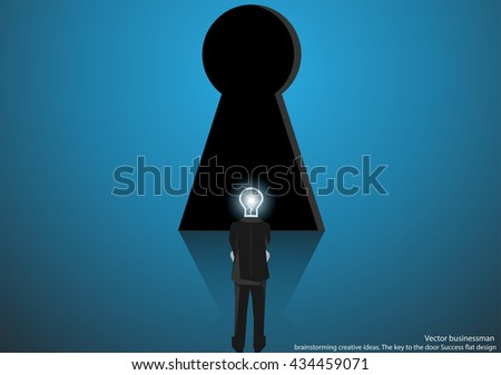 Vector businessman brainstorming creative ideas the key to the door Success flat design