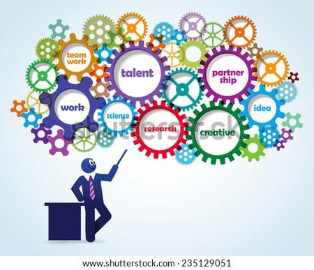 Vector Businessman Gears Concept  - stock vector