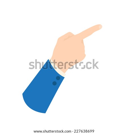 Vector businessman hand icon - showing sign, pointing finger shows up right direction, back of the hand in business suit sleeve, isolated on white - stock vector
