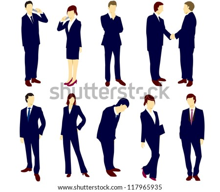 Vector businessman office lady - stock vector