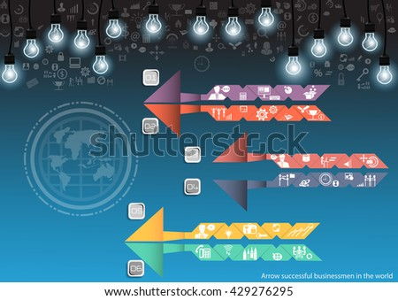 Vector Businessman top corner using modern technology to communicate tablet Contact trade and worldwide market, with a business icon and the world flat design - stock vector