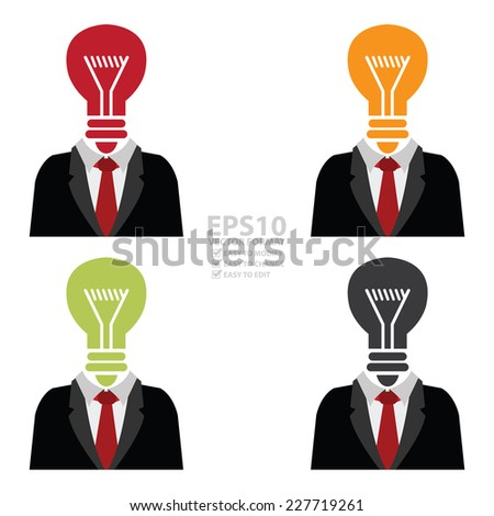 Vector : Businessman With Light Bulb Head Isolated on White Background  - stock vector