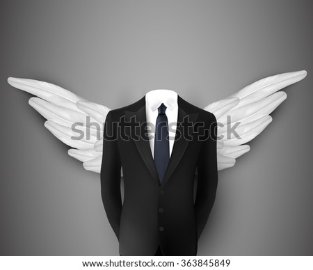 vector businessman with wings - stock vector