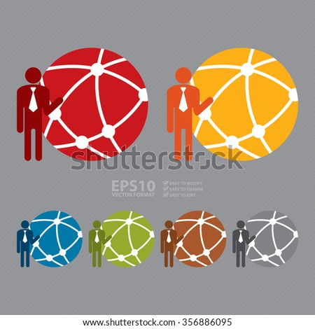 Vector : Businessman With Worldwide, Business Connection, Social Network, Global Communication Infographics Flat Icon, Sign - stock vector