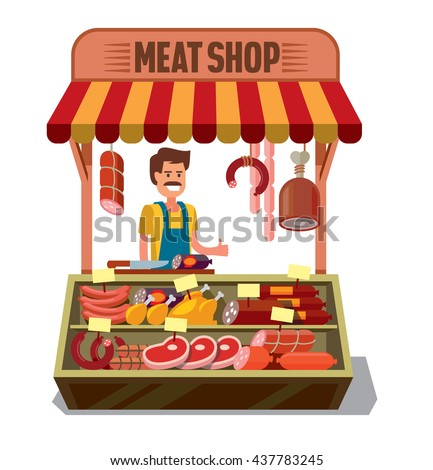 vector Butcher Shop with man on white background - stock vector