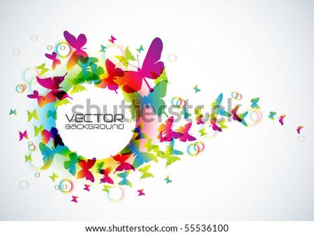 Vector Butterflies Background Design - stock vector