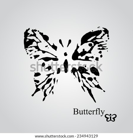 Vector butterfly black ink stamp isolated