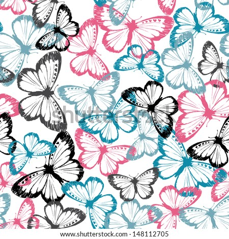 Vector Butterfly Camouflage Seamless Repeat - stock vector