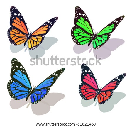 vector butterfly collection - stock vector