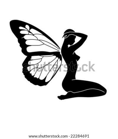 Vector Butterfly girl - stock vector