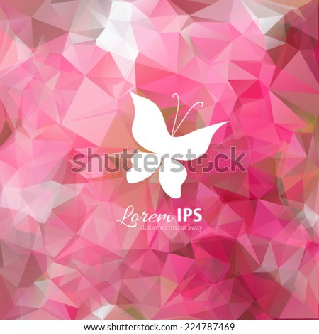 Vector butterfly logotype on multicolor polygonal abstract background. White animal silhouette on colorful backdrop. Logo design template. - stock vector
