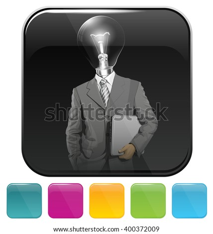 Vector button icon with business man - stock vector