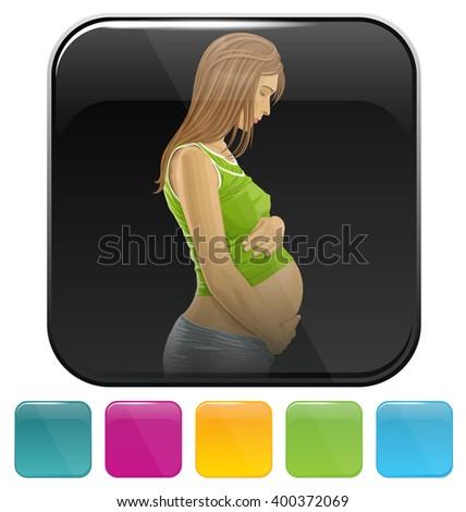 Vector button icon with pregnant woman - stock vector