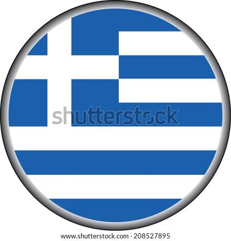 vector button of greece flag badge - stock vector