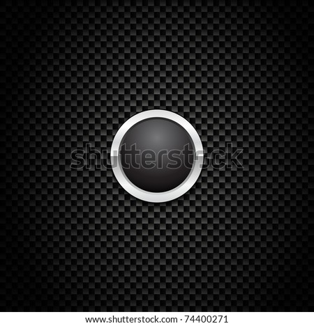 Vector Button on Carbon Fiber Background. Eps10! - stock vector