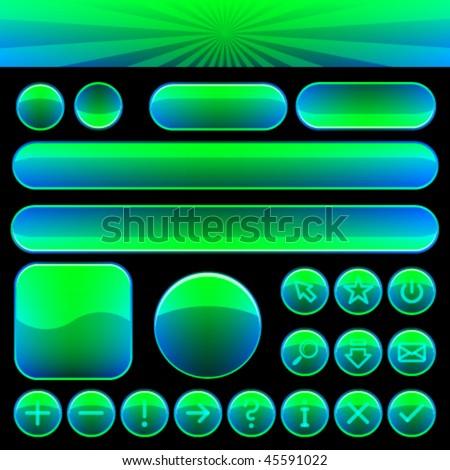 Vector Button Set - stock vector