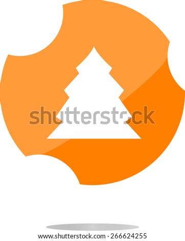 vector button with christmas tree on it - stock vector
