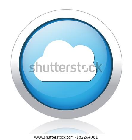 Vector  button with cloud icon - stock vector
