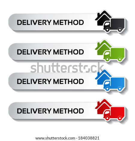Vector buttons - delivery method, truck labels - stock vector