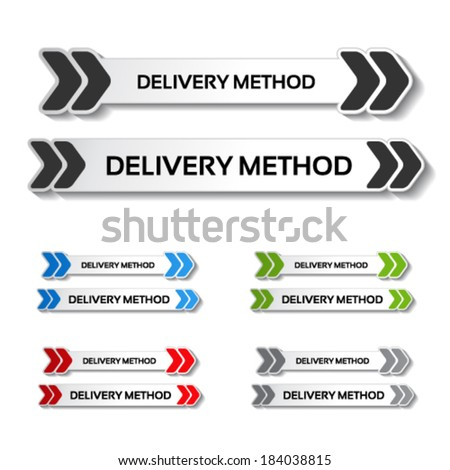 Vector buttons - delivery method, truck labels with arrows - stock vector
