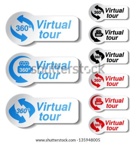 Vector buttons for virtual tour - stock vector