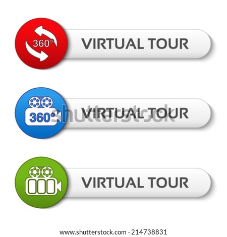 Vector buttons for virtual tour, red, green and blue labels - stickers with arrows and camera - stock vector