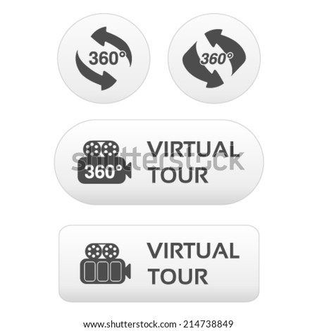 Vector buttons for virtual tour, white labels - stickers with arrows and camera - stock vector
