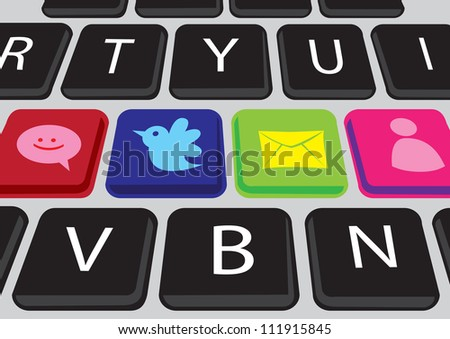 Vector buttons on a keyboard with Social media icons - stock vector