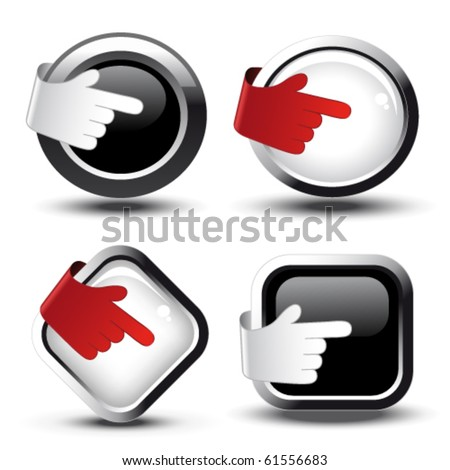 Vector buttons with curled hand - stock vector