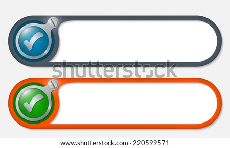 vector buttons with screw and check box - stock vector
