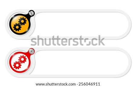vector buttons with screw and cogwheels - stock vector