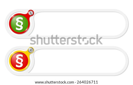 vector buttons with screw and paragraph - stock vector