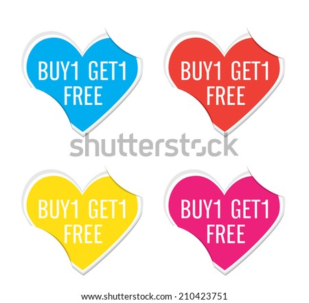 Vector - Buy 1 Get 1 Free icon valentine heart stickers.   - stock vector