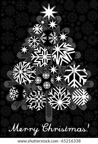 vector bw christmas tree - stock vector