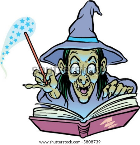 vector cackling witch casting a magic spell drawing - stock vector