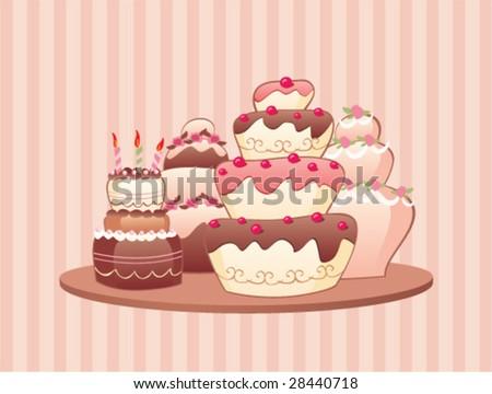 Vector Cakes - stock vector