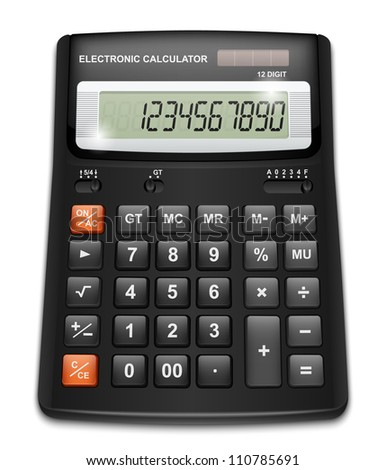 Vector calculator isolated on white background - stock vector