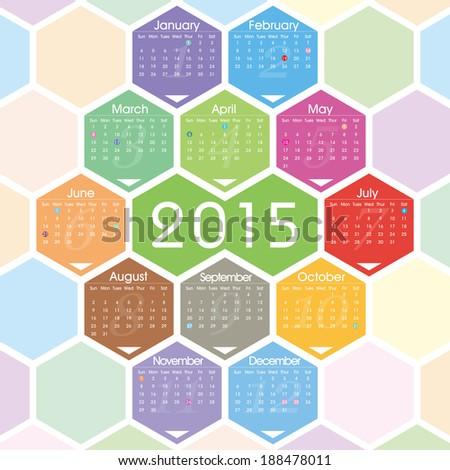 Vector 2015 calendar  - stock vector
