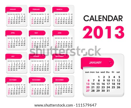 Vector Calendar 2013, All Elements Are In Separate Layers And Grouped, Easy To Edit.