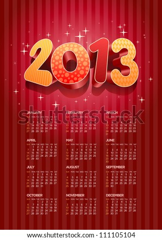 Vector 2013 calendar. All elements are layered separately in vector file. Easy editable.