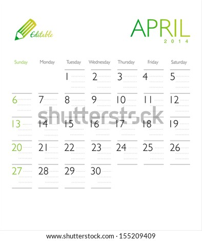 Vector calendar 2014 April - stock vector