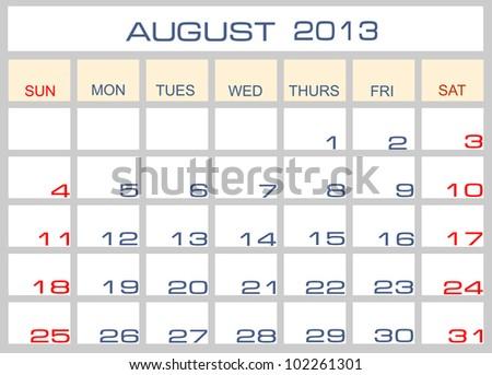 Vector calendar August 2013 - stock vector