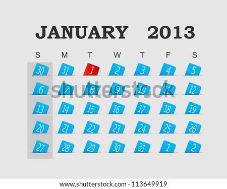 Vector calendar 2013 blue. January. Vector Illustration. EPS 10. - stock vector