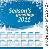 Vector Calendar 2011. Blue landscape with snowflakes and Season's greetings text - stock vector